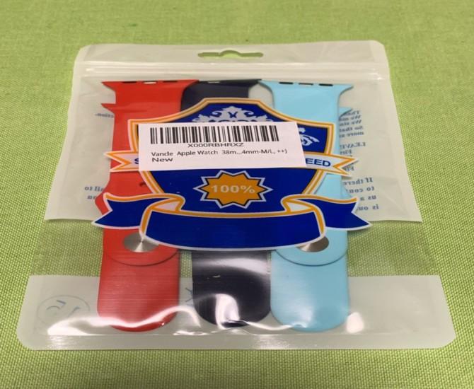 Vancle コンパチブル シリコンバンド 3本セット ミッドナイトブルー/オレンジレッド/ライトブルー 44mm